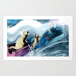 Ferret on the boat Natacha the Ferret Art Print