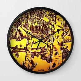 Golden Mountain Sunset - Wall Clock