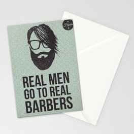 Real men go to real barbers Stationery Cards