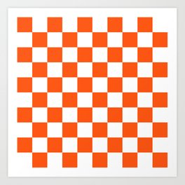 Cheerful Orange Checkerboard Art Print