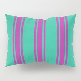 Pink lines on a turquoise background Pillow Sham