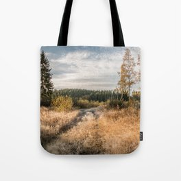 Autumn landscape with a path between tall trees and a moody cloudy sky Tote Bag
