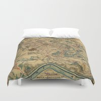 battlefield Duvet Covers featuring Vintage Antietam Battlefield Map (1862) by BravuraMedia