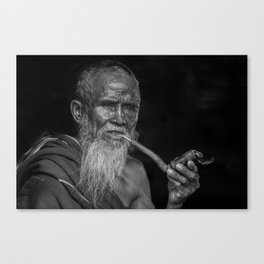 Portrait of an Elderly Man Smoking Pipe Canvas Print