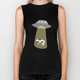 Spaceship Cow Abduction UFO Alien Moo Art Biker Tank