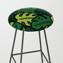 Monstera Leaf Pattern Bar Stool