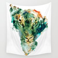 wildlife Wall Tapestries featuring African Wildlife by RIZA PEKER