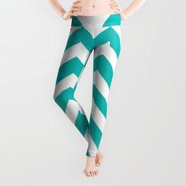 Tiffany Blue - blue color - Zigzag Chevron Pattern Leggings