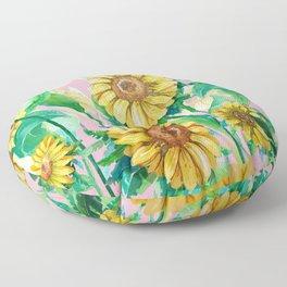 Sunflowers on Pink Floor Pillow