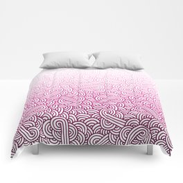 Gradient pink and white swirls doodles Comforters