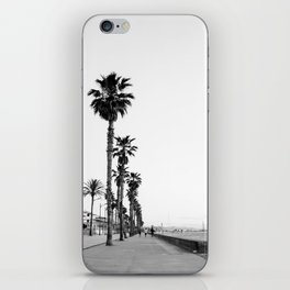 Playa de Valencia | Black and white photograph of the boulevard & beach | travel art iPhone Skin