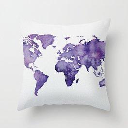 Purple World Map 01 Throw Pillow