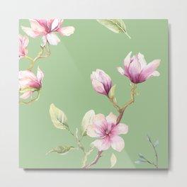 Magnolia Spring Pattern Metal Print