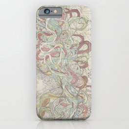 Beautiful Map of the Lower Mississippi River iPhone Case