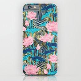 Art Deco Lotus Flowers in Pink & Navy iPhone Case
