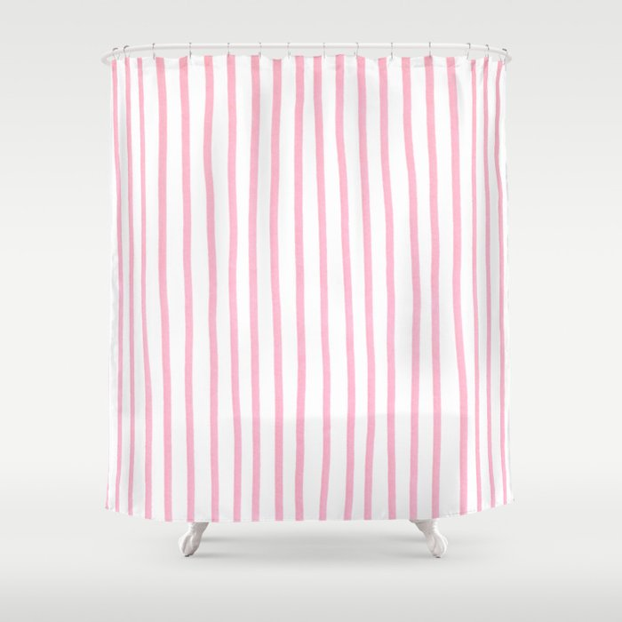 PINK STRIPES Shower Curtain By Colortides