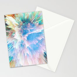 Pastel Stalagmites Colliding in Space Cave Stationery Cards