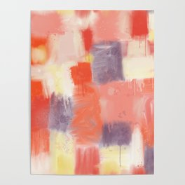 City Sunset Geometric Abstract Painting Poster