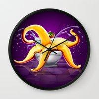 toilet Wall Clocks featuring OCTOPUS / TOILET by shttefan