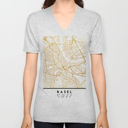 BASEL SWITZERLAND CITY STREET MAP ART Unisex V-Neck