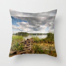 Old bridge and boats at the lake Throw Pillow