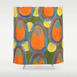 Red Eggs with Blue Fillings Shower Curtain