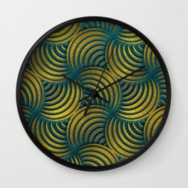 Teal Leather and Gold Circulate Wave Pattern Wall Clock