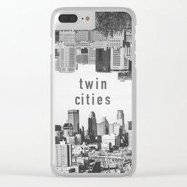 Twin Cities Minneapolis and Saint Paul Minnesota Skylines Clear iPhone Case