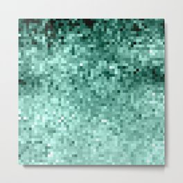 Teal Mint Green Pixels Metal Print