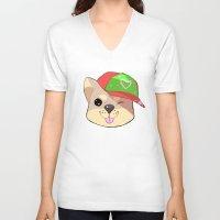 shiba V-neck T-shirts featuring fashion shiba by Donald