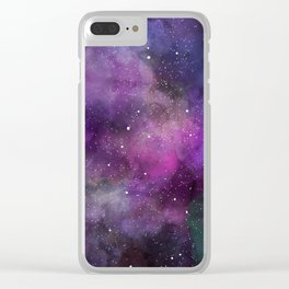 Watercolor Universe Clear iPhone Case