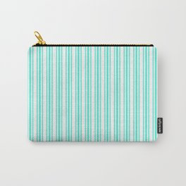 Trendy Large Aqua Gift Box Pastel Aqua French Mattress Ticking Double Stripes Carry-All Pouch