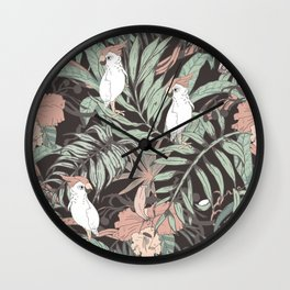 Exotic birds in the dark of the jungle Wall Clock