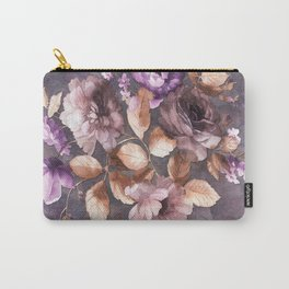 Vintage Mauve Wall Flowers Carry-All Pouch