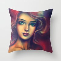 under the sea Throw Pillows featuring Under the Sea by Alice X. Zhang
