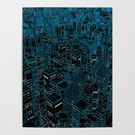 Night light city / Lineart city in blue Poster