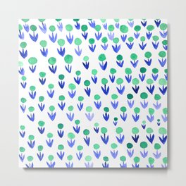 Dot flowers -  green and blue Metal Print