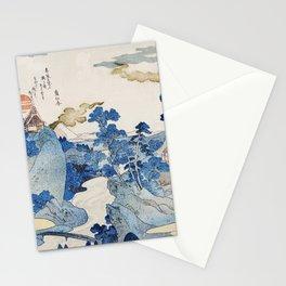 Fuji no Yukei by Utagawa Kuniyoshi (1798-1861) translated An Evening View of Fuji a traditional Japanese ukiyo-e style  of the stream of Asazawa in spring with view of Mount Fuji from the hot springs at Hakone Stationery Cards
