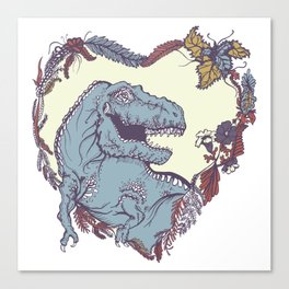 T-Rex Heart - Blue & Red Canvas Print