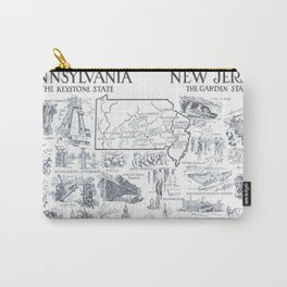 Vintage NJ and Pennsylvania Illustrative Map (1912) Carry-All Pouch