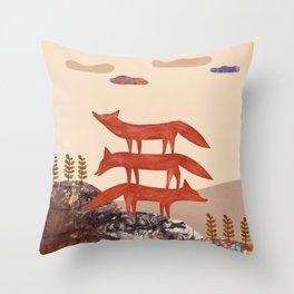 Three Foxes Throw Pillow