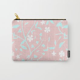 Girly blush pink teal white hand painted floral Carry-All Pouch