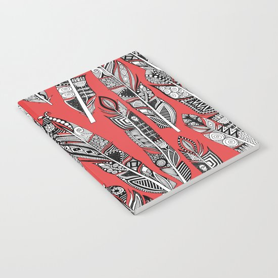 geo feathers red Notebook