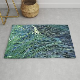 Lush, Long Blades Of Grass By Turquoise Pond Rug