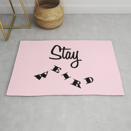 Stay weird Pink Rug
