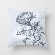Graphic drawing roses Throw Pillow