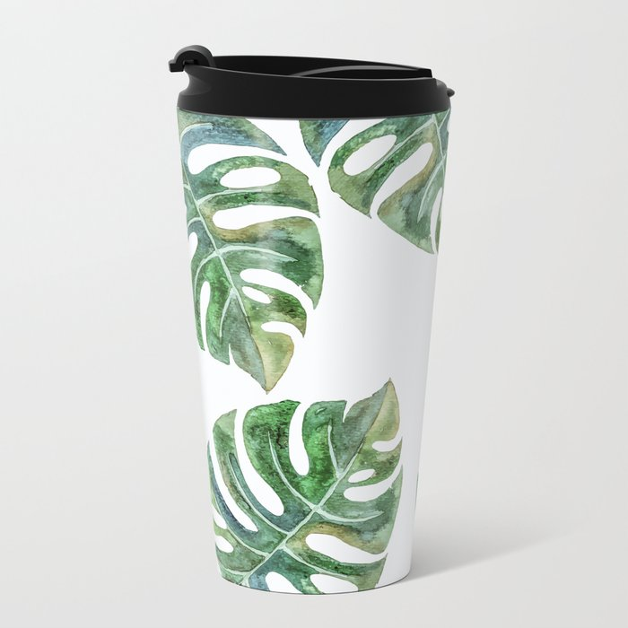 Monstera Leaves Metal Travel Mug