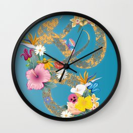 golden snake with flowers Wall Clock