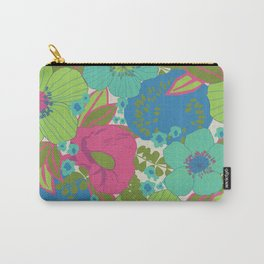 Green, Turquoise, Blue and Magenta Retro Floral Pattern Carry-All Pouch