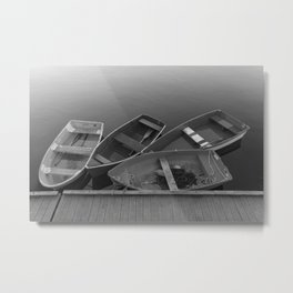 Four Skiffs Black and White Metal Print